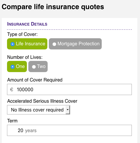 Irish Life Insurance Quote Tables.